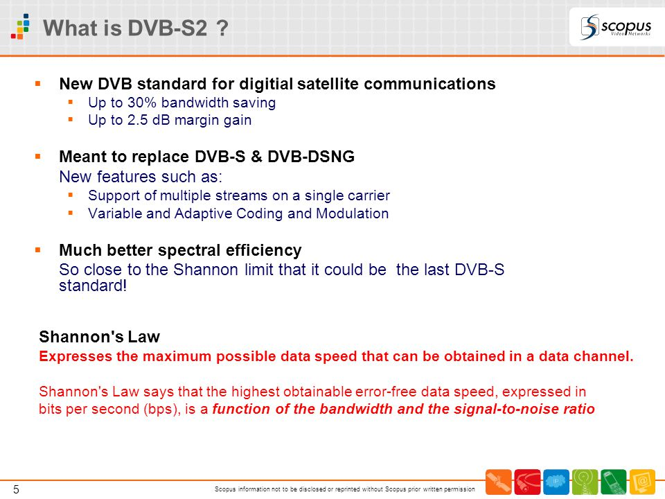 What is DVB-S2 New DVB standard for digitial satellite communications. Up to 30% bandwidth saving.