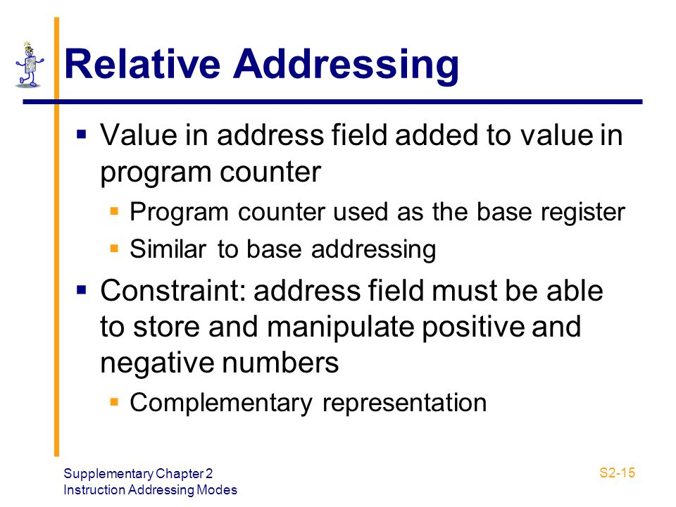 Relative Addressing Value in address field added to value in program counter. Program counter used as the base register.