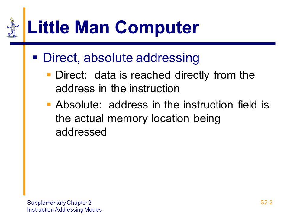 Little Man Computer Direct, absolute addressing