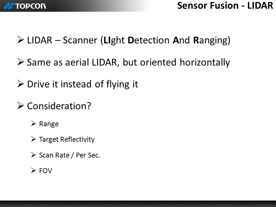 LIDAR – Scanner (LIght Detection And Ranging)