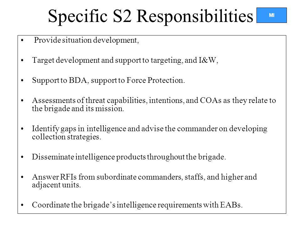Specific S2 Responsibilities