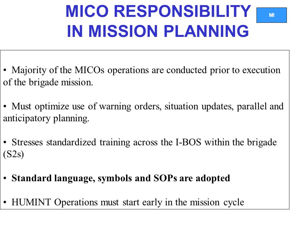 MICO RESPONSIBILITY IN MISSION PLANNING