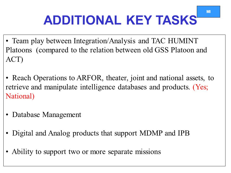 ADDITIONAL KEY TASKS Team play between Integration/Analysis and TAC HUMINT Platoons (compared to the relation between old GSS Platoon and ACT)