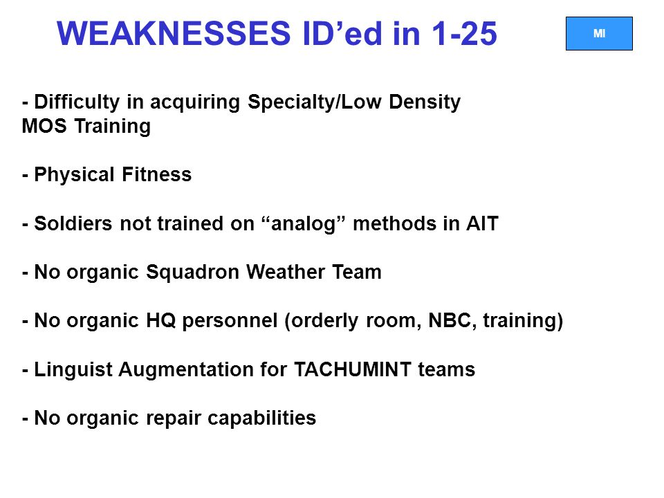 WEAKNESSES ID'ed in 1-25 - Difficulty in acquiring Specialty/Low Density. MOS Training. - Physical Fitness.