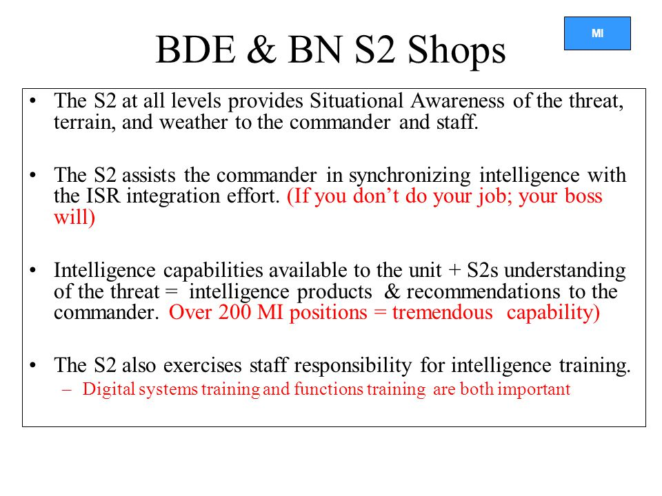 BDE & BN S2 Shops The S2 at all levels provides Situational Awareness of the threat, terrain, and weather to the commander and staff.