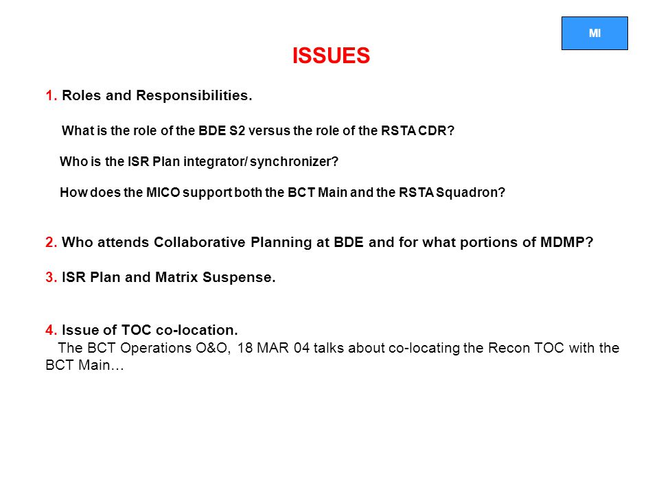 ISSUES 1. Roles and Responsibilities.