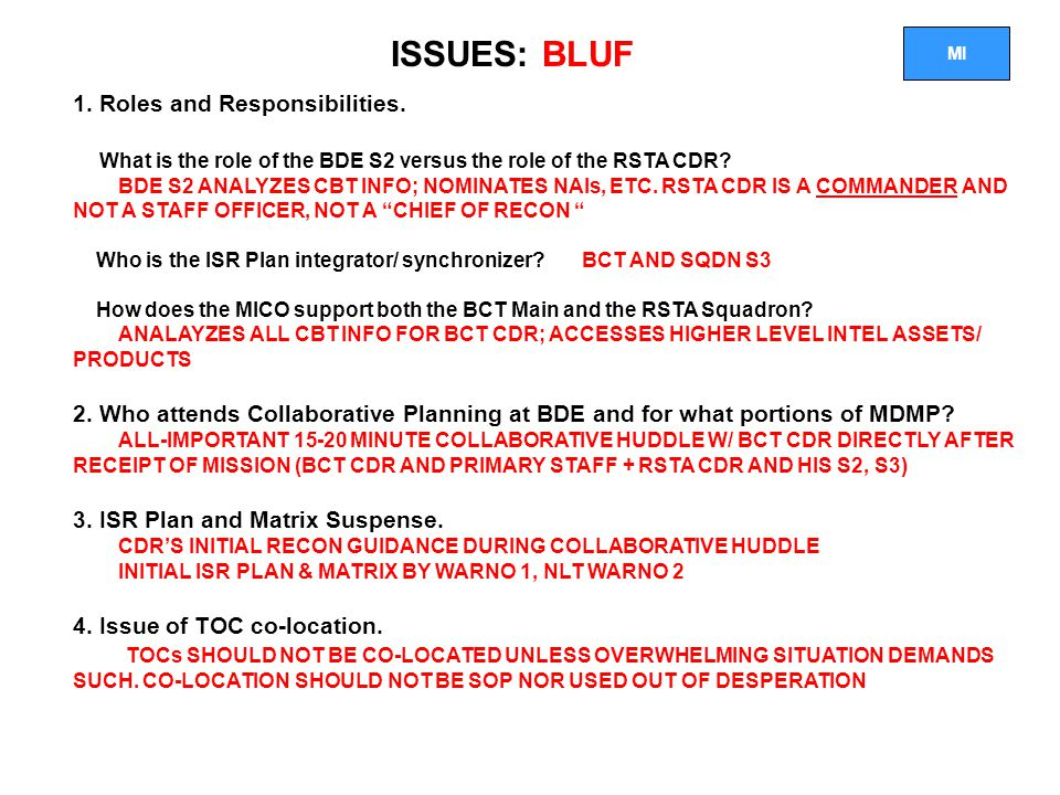 ISSUES: BLUF 1. Roles and Responsibilities.