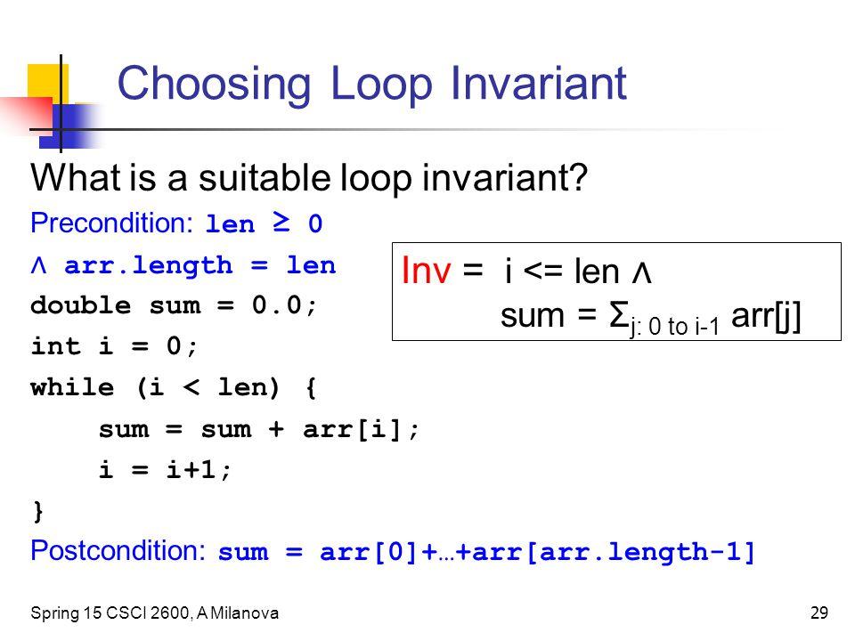 Choosing Loop Invariant