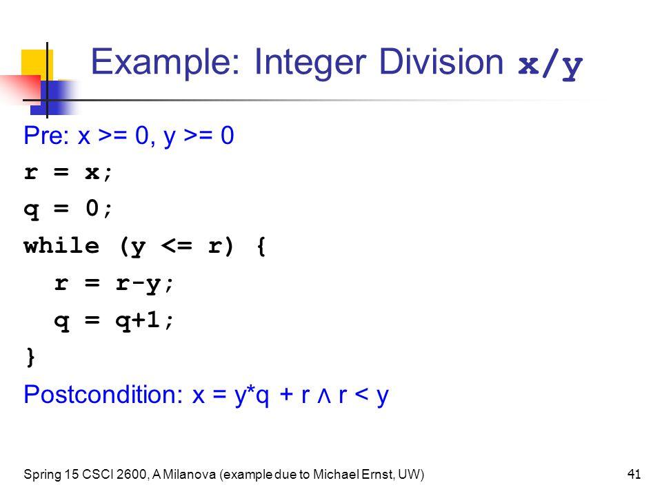 Example: Integer Division x/y