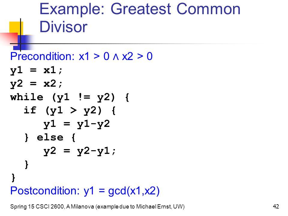 Example: Greatest Common Divisor
