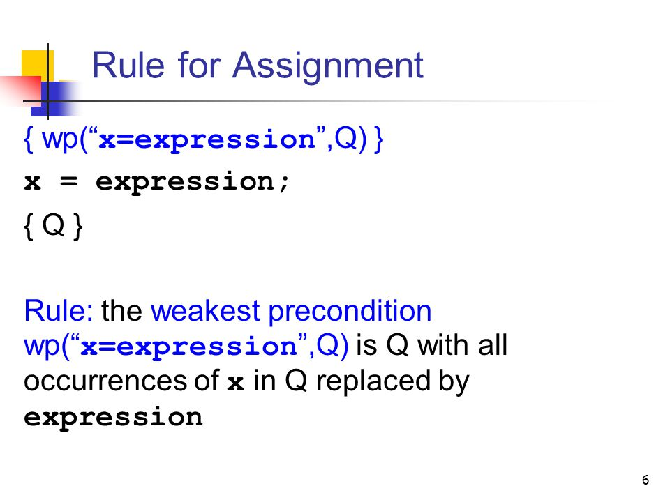 Rule for Assignment