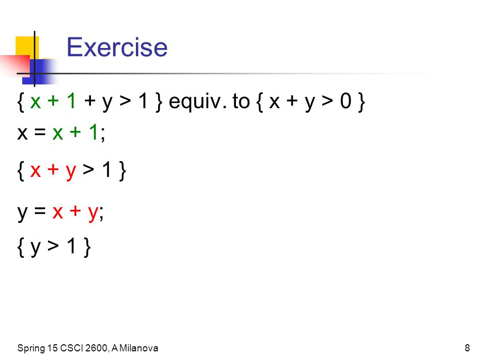 Exercise { x + 1 + y > 1 } equiv.