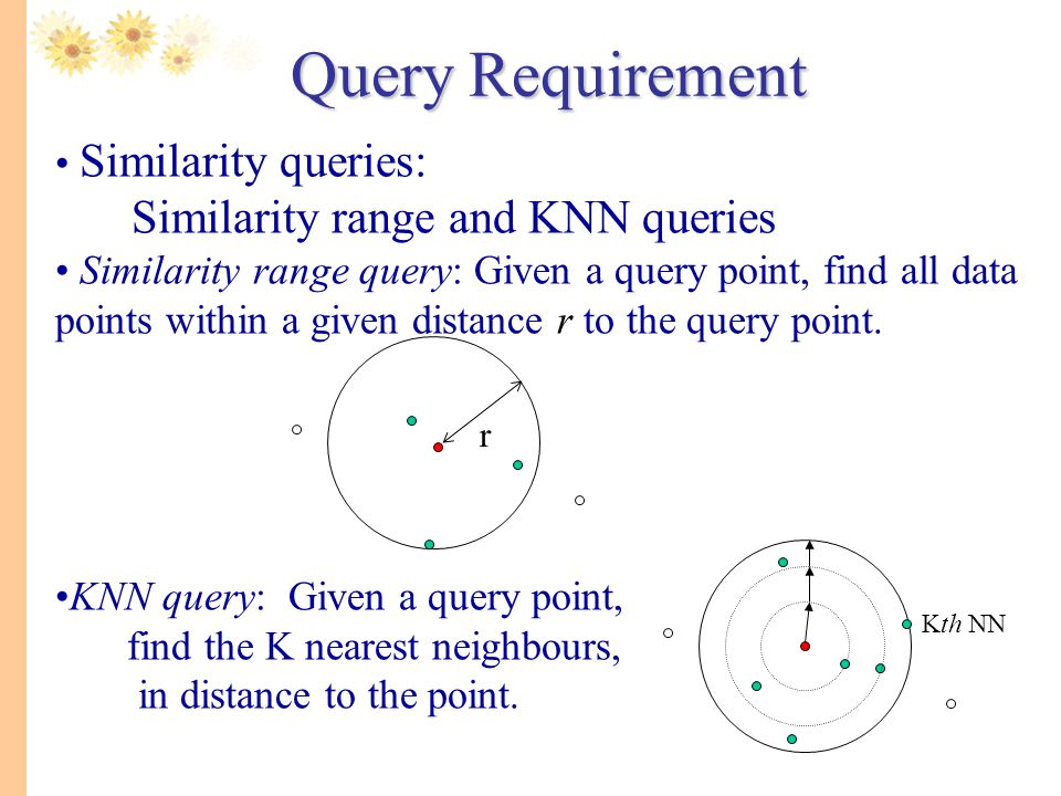 Query Requirement Similarity range and KNN queries Similarity queries: