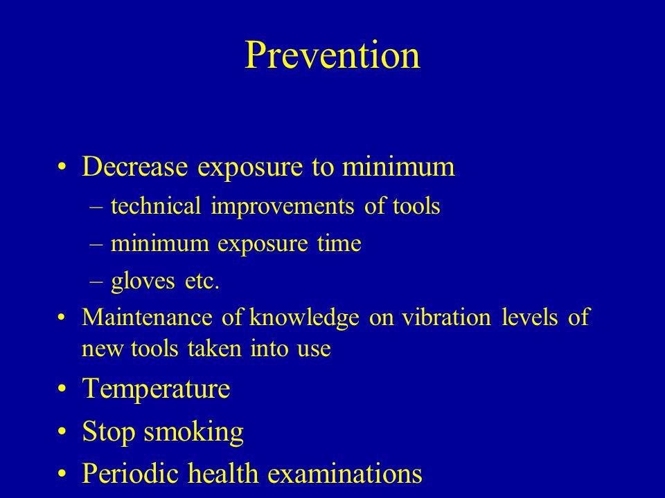 Prevention Decrease exposure to minimum Temperature Stop smoking