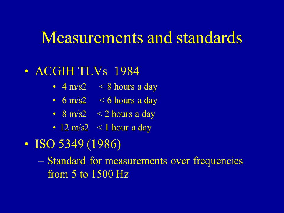 Measurements and standards