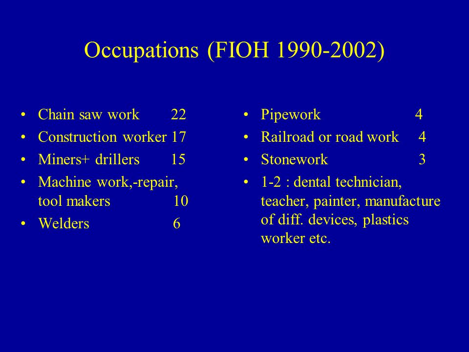Occupations (FIOH 1990-2002) Chain saw work 22 Construction worker 17