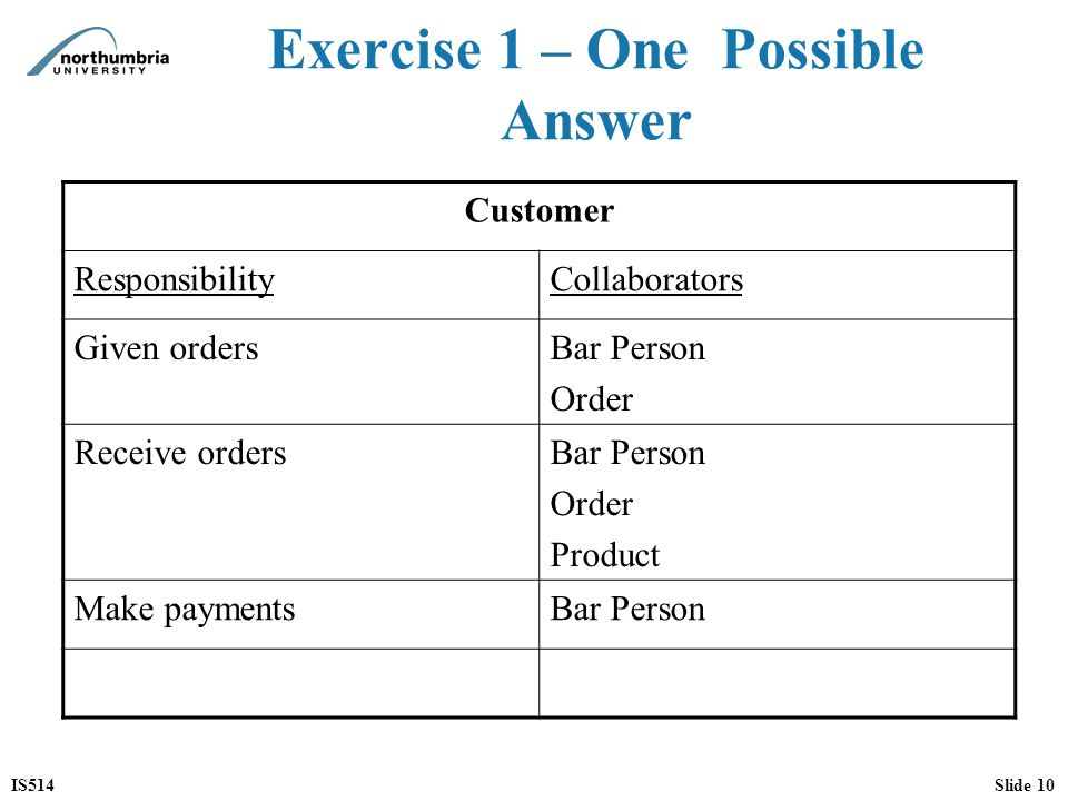 Exercise 1 – One Possible Answer