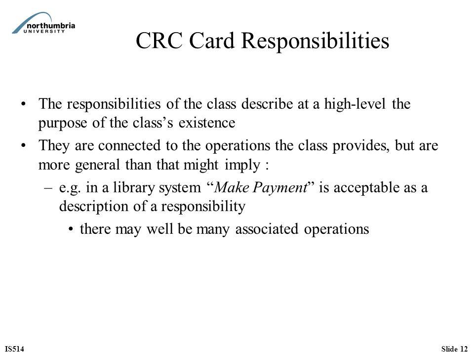 CRC Card Responsibilities