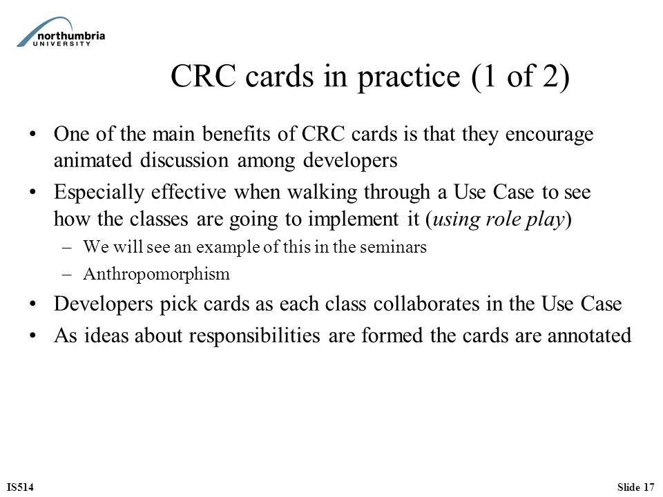 CRC cards in practice (1 of 2)