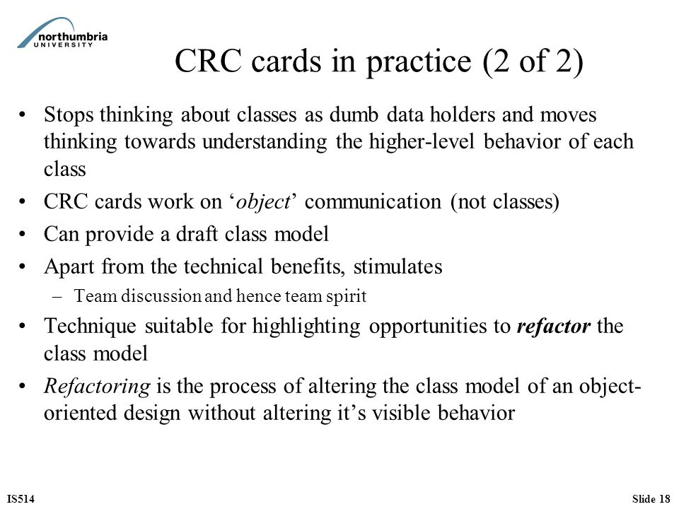 CRC cards in practice (2 of 2)