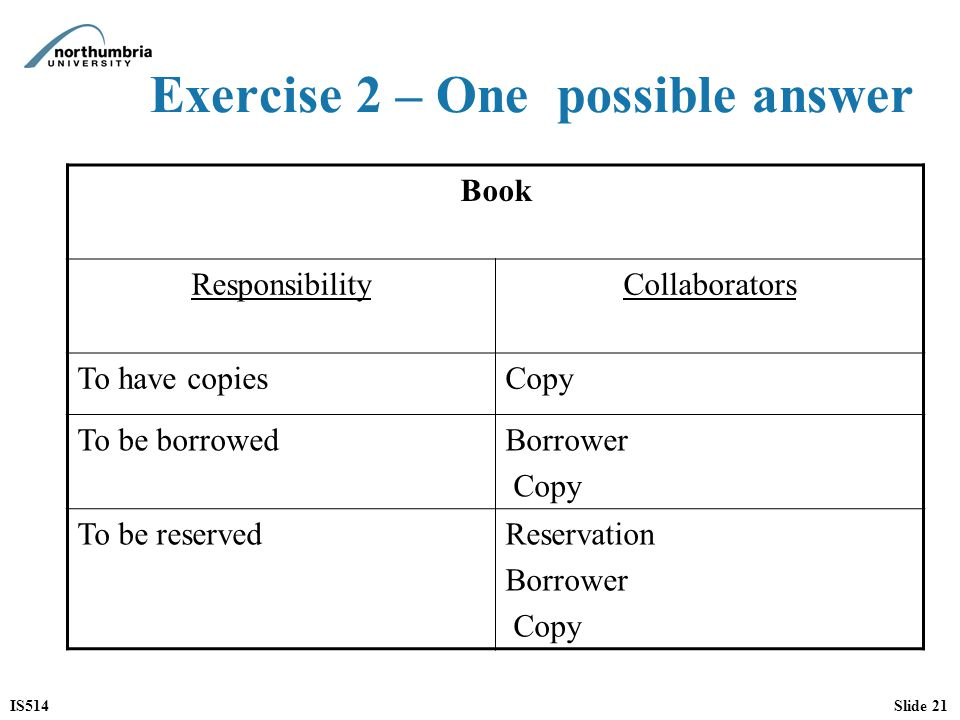 Exercise 2 – One possible answer