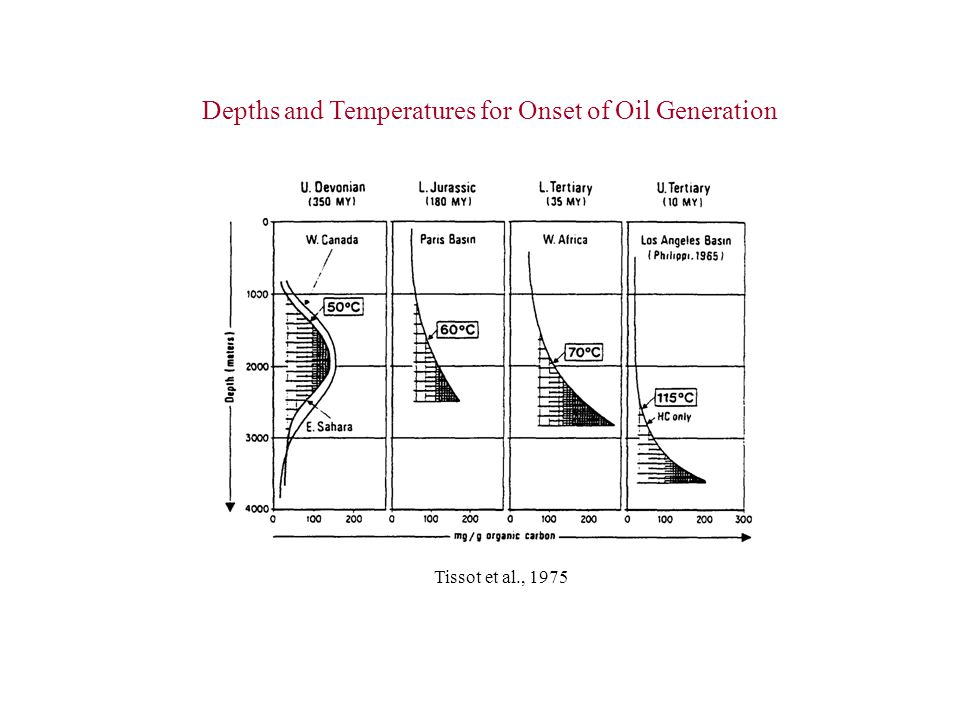 Depths and Temperatures for Onset of Oil Generation