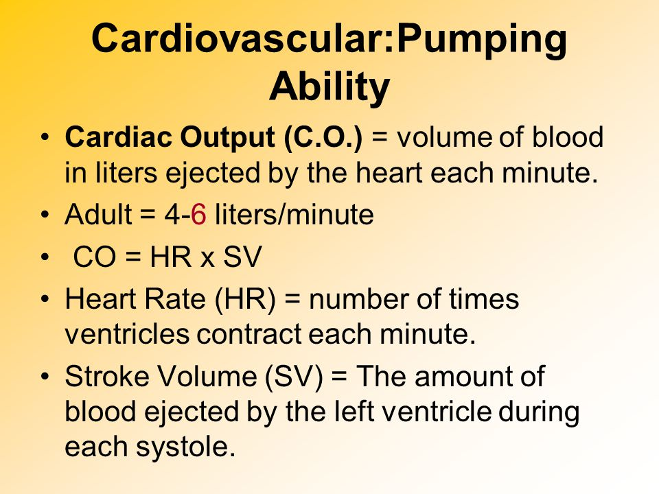 Cardiovascular:Pumping Ability