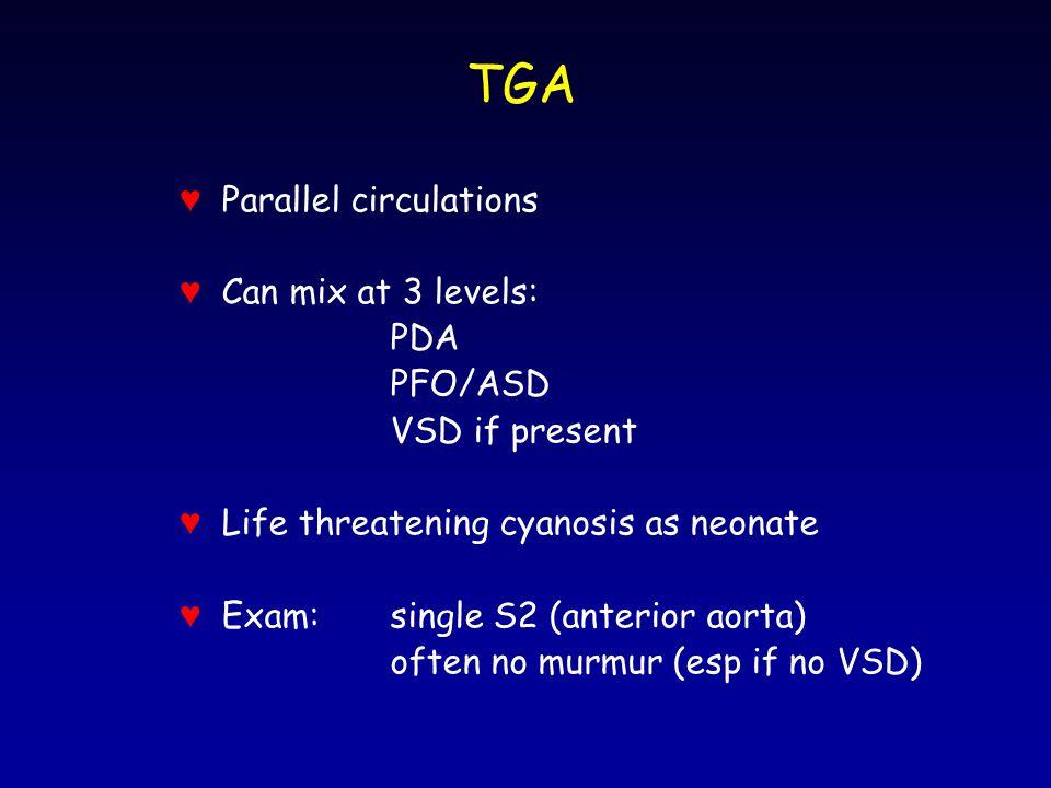 TGA ♥ Parallel circulations ♥ Can mix at 3 levels: PDA PFO/ASD