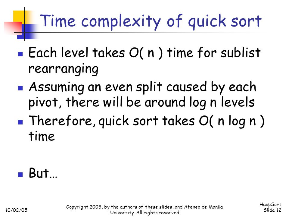Time complexity of quick sort