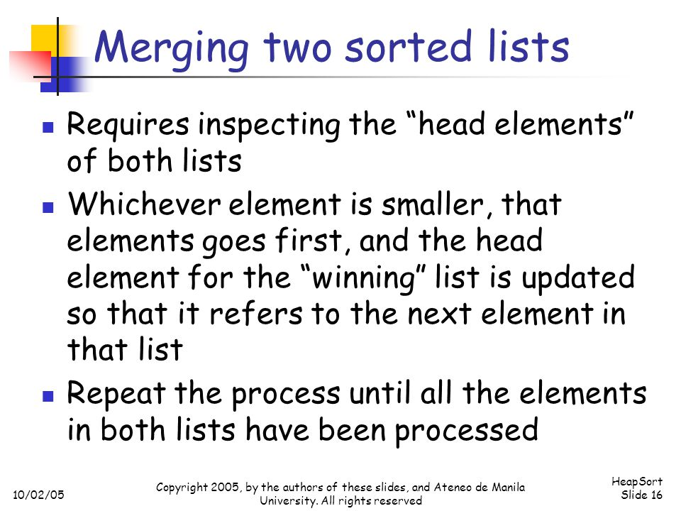 Merging two sorted lists