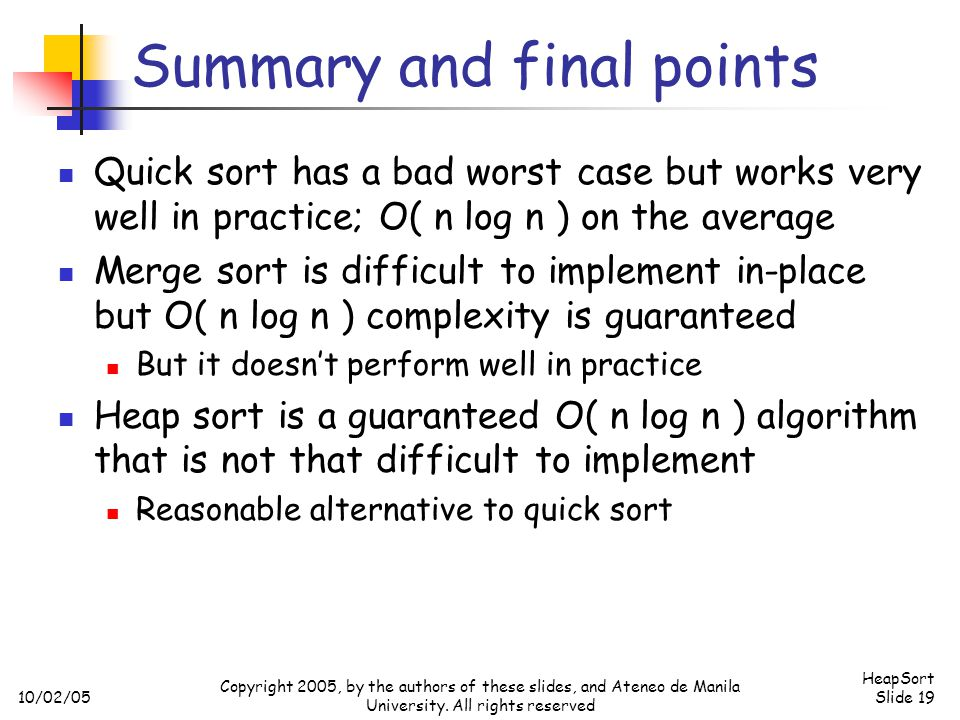 Summary and final points