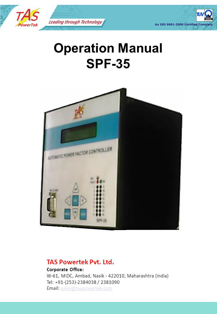 Operation Manual Spf-35 Tas Powertek Pvt. Ltd. Corporate Office: W