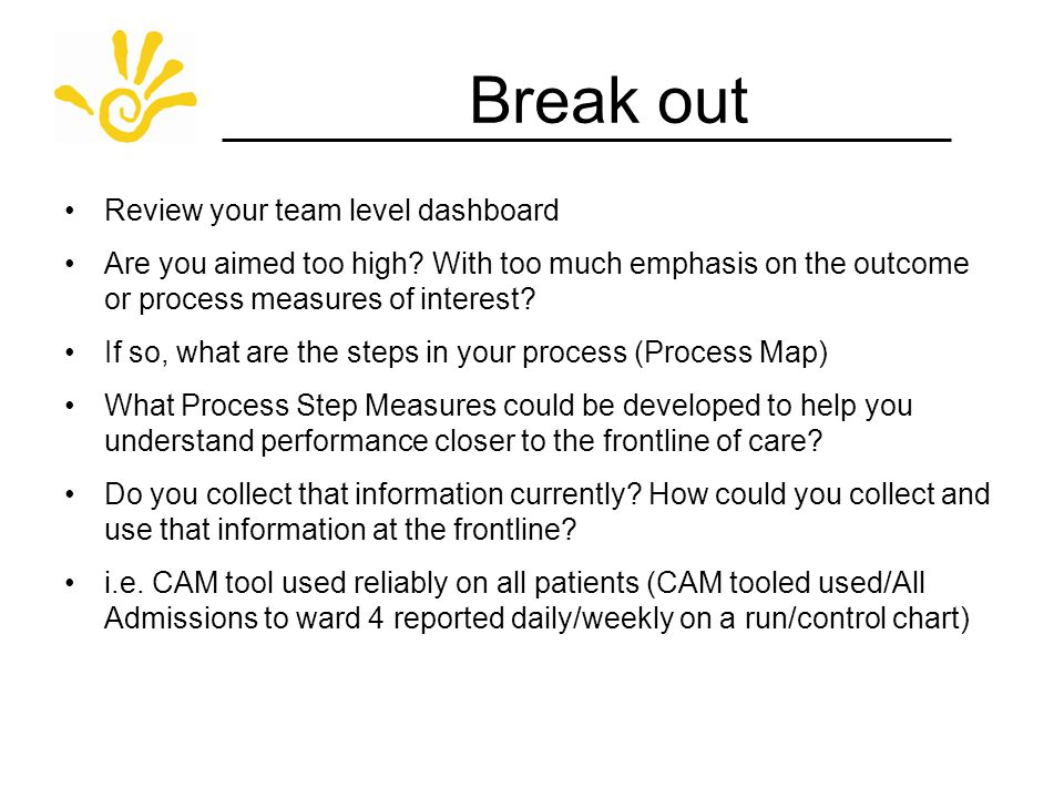 Break out Review your team level dashboard