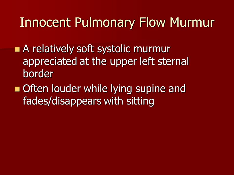 Innocent Pulmonary Flow Murmur