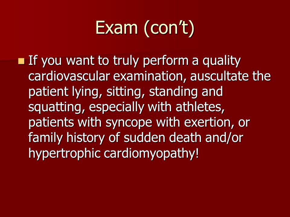 Exam (con't)