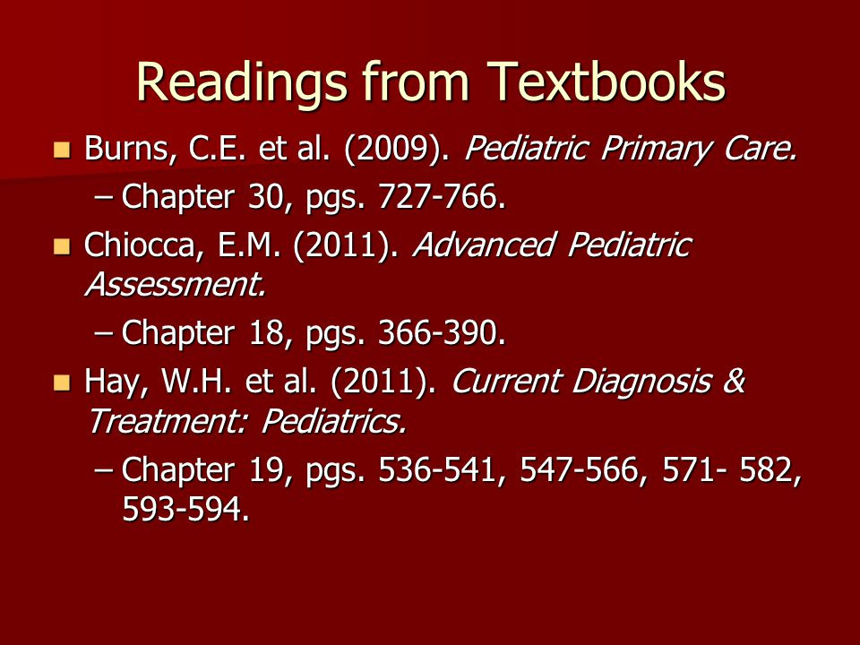 Readings from Textbooks