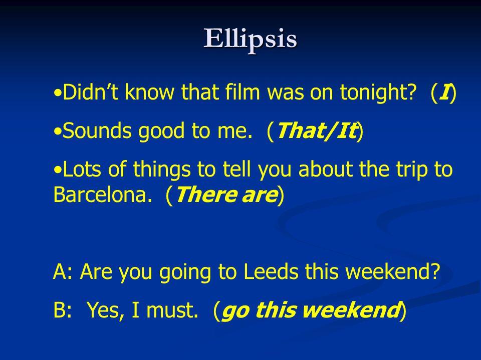 Ellipsis Didn't know that film was on tonight (I)