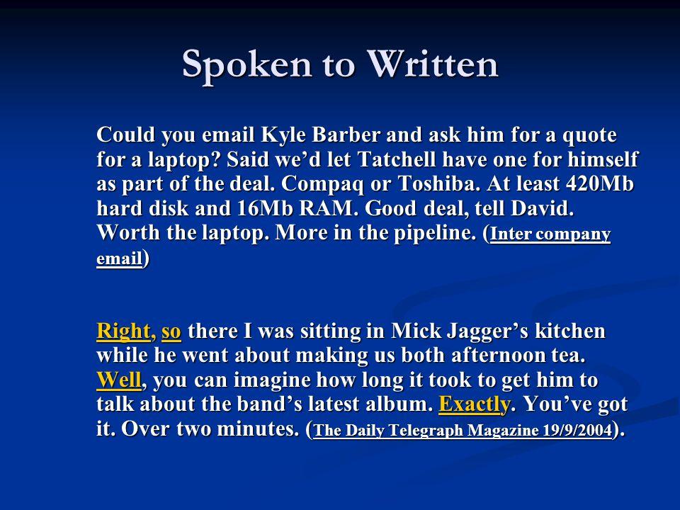 Spoken to Written