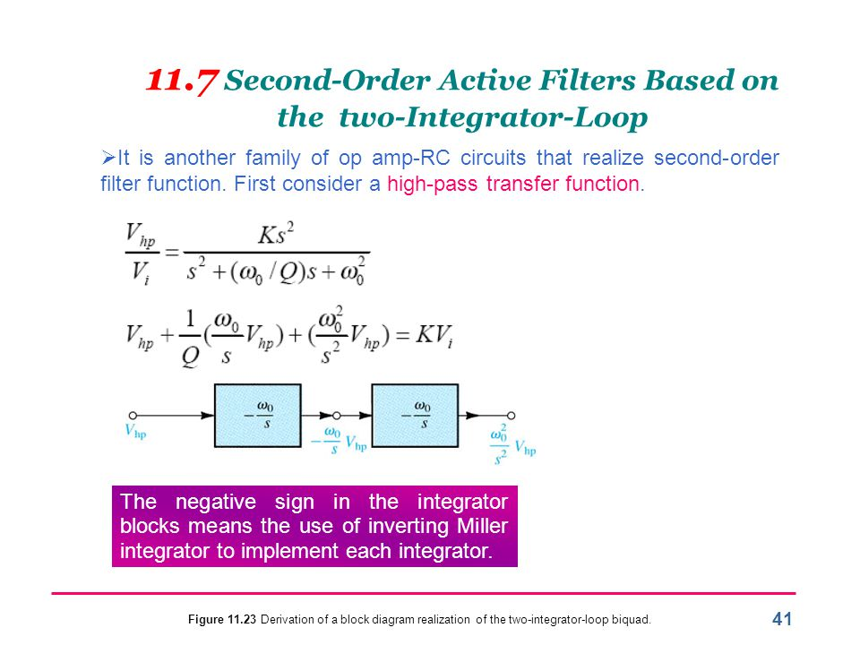 11.7 Second-Order Active Filters Based on the two-Integrator-Loop