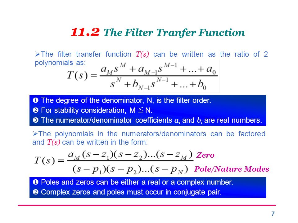 11.2 The Filter Tranfer Function