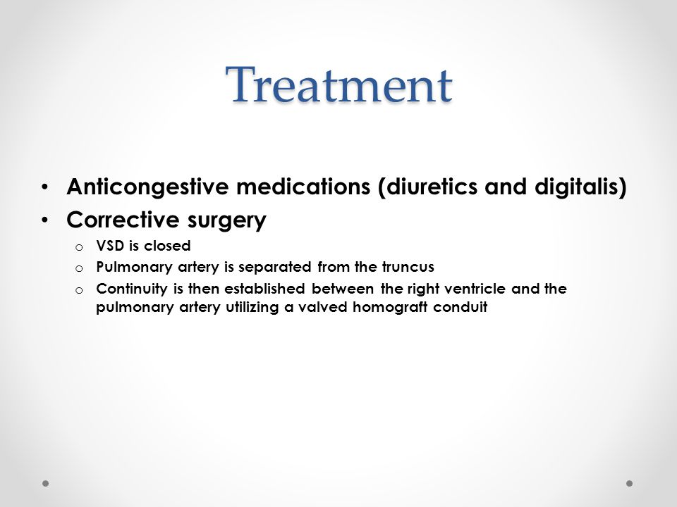 Treatment Anticongestive medications (diuretics and digitalis)