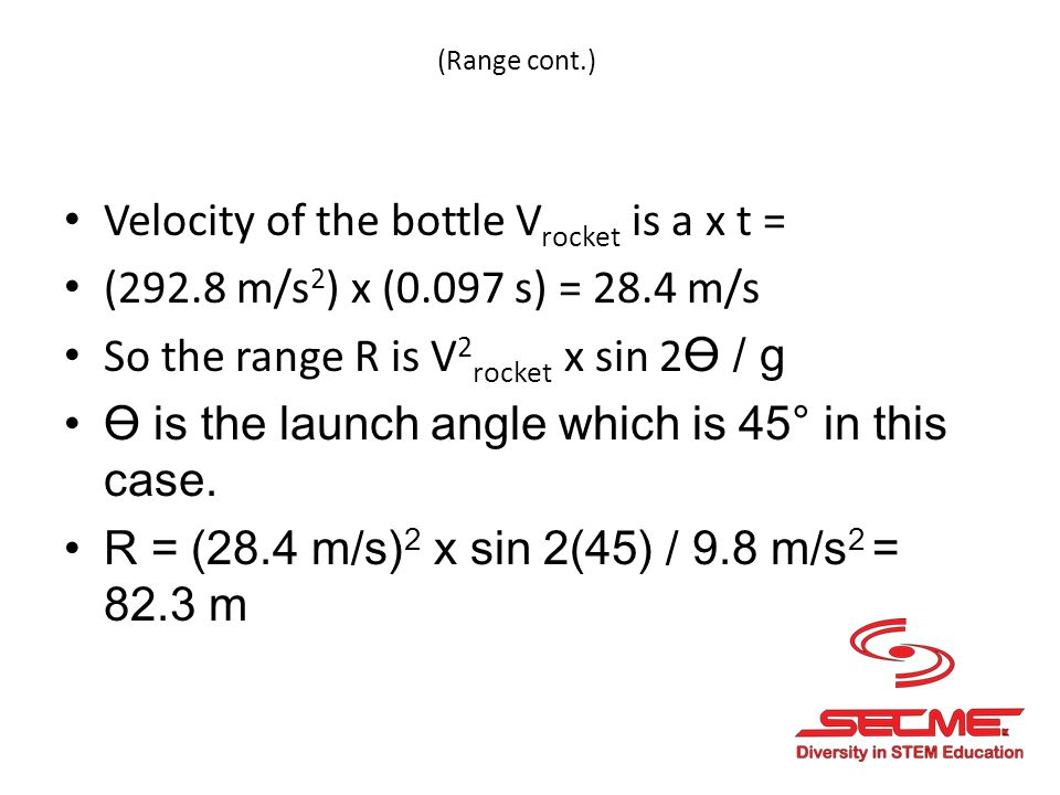 Velocity of the bottle Vrocket is a x t =