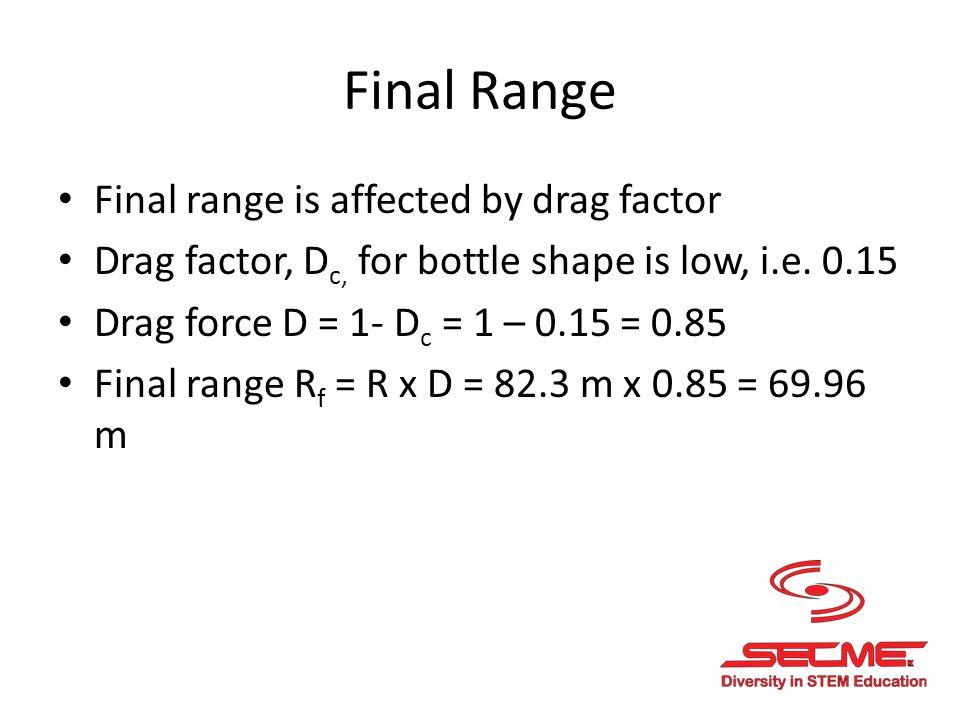 Final Range Final range is affected by drag factor