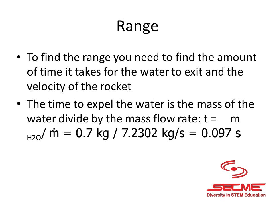 Range To find the range you need to find the amount of time it takes for the water to exit and the velocity of the rocket.