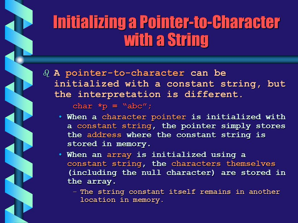 Initializing a Pointer-to-Character with a String