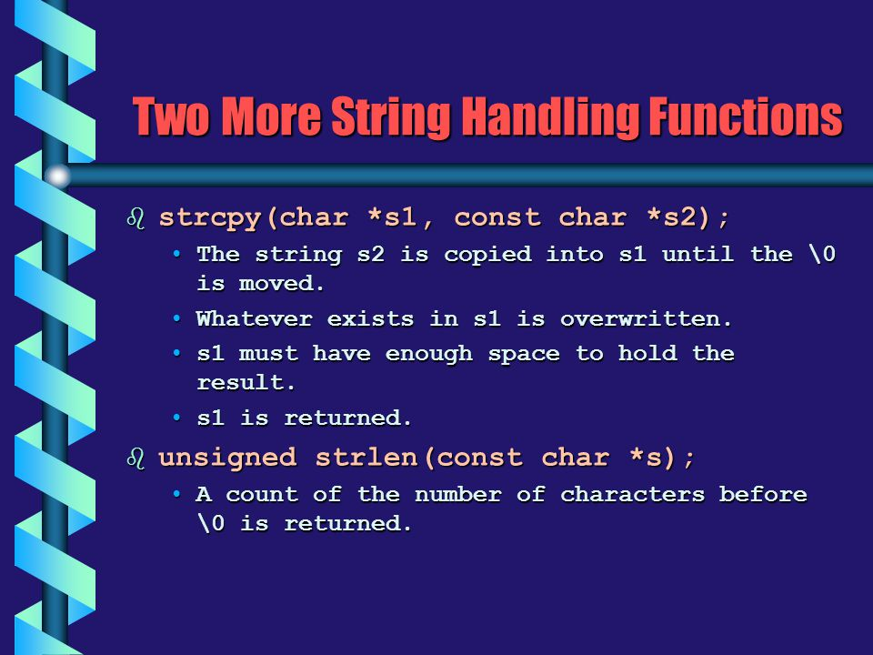 Two More String Handling Functions