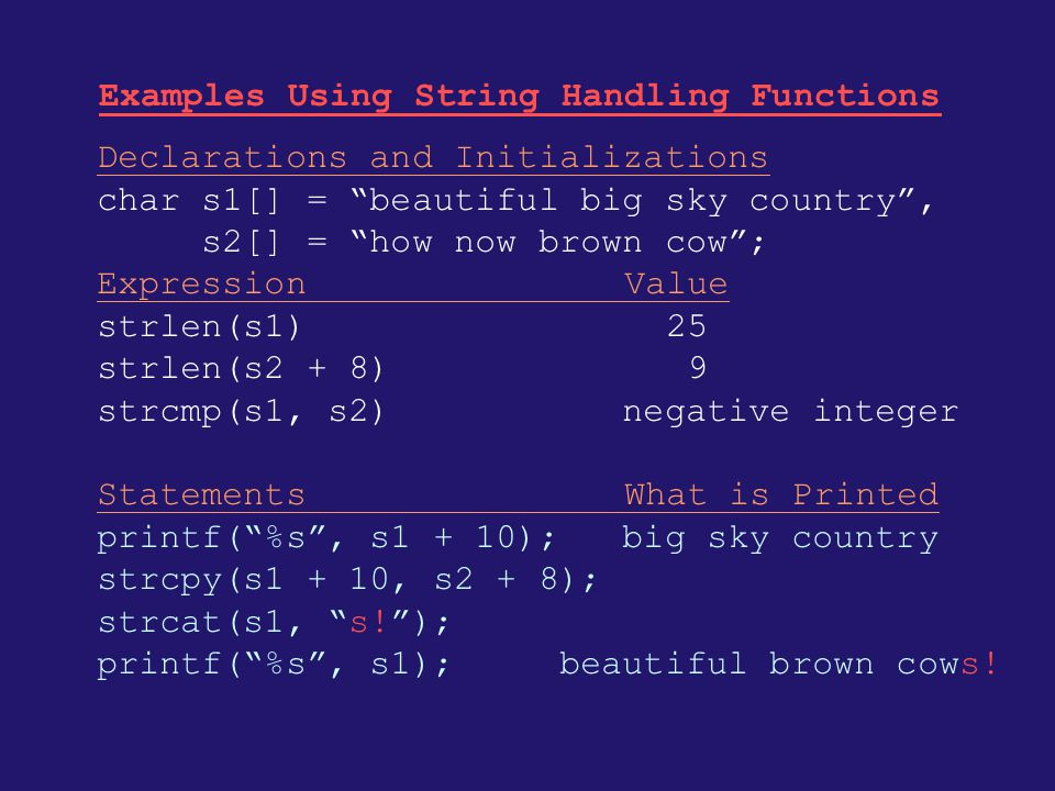 Examples Using String Handling Functions