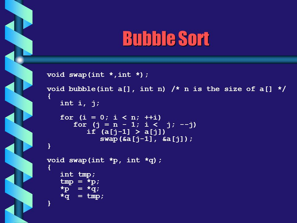 Bubble Sort void swap(int *,int *);