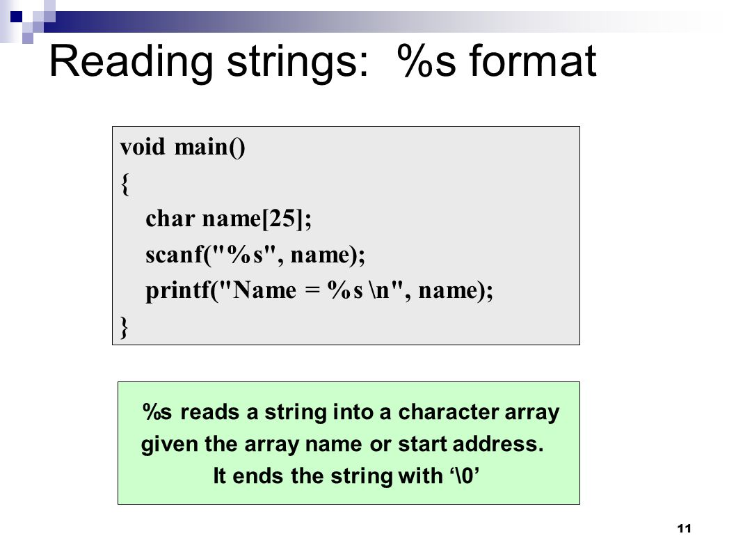 Reading strings: %s format