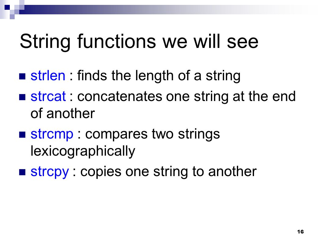 String functions we will see
